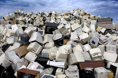 Large mound of discarded computers and monitors