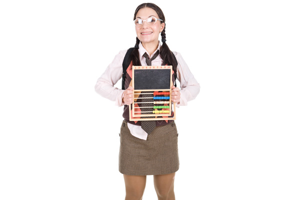 Nerdy Girl with Abacus