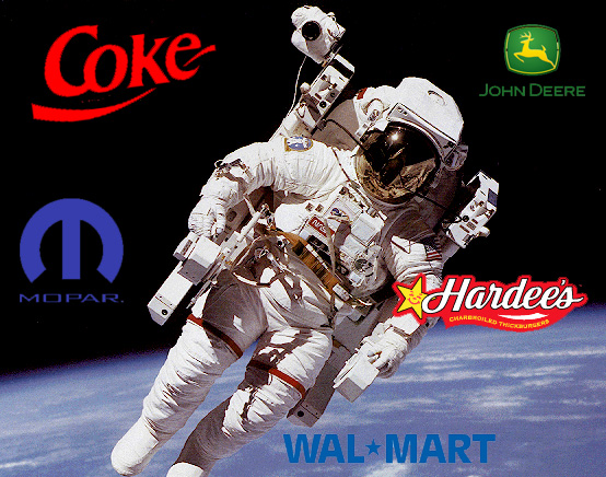 Astronaut with various corporate logos