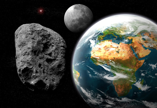 An asteroid and the Earth in an illustration
