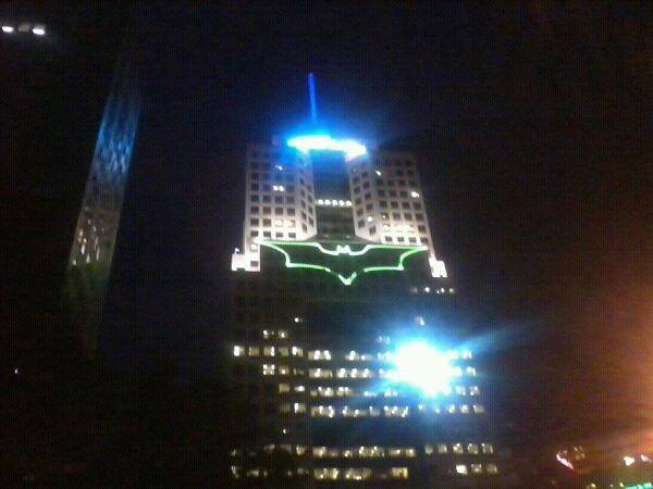 Batsign on The Highmark Building in downton Pittsburgh