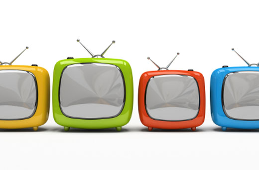 Four colorful television sets isolated on white background