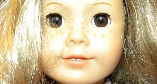 Closeup of an American Girl doll