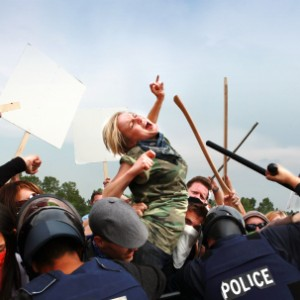 Protestors clash with police