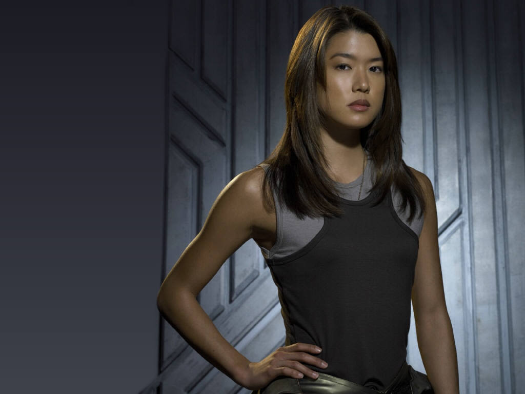 Grace Park as Boomer in BSGGrace Park Battlestar Galactica Forest Scene
