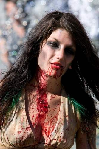 Pretty woman dressed as a zombie