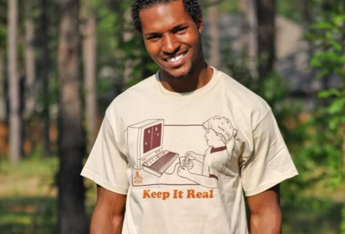 Model in Atari Shirt