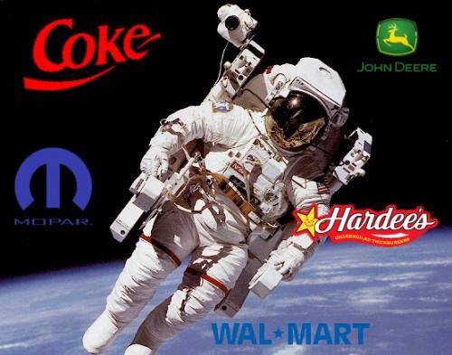 Astronaut with various corporate logos